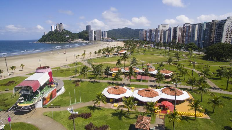 Пляж Бразилия Vicente Sao, красивый пляж в Южной Америке стоковое изображение rf