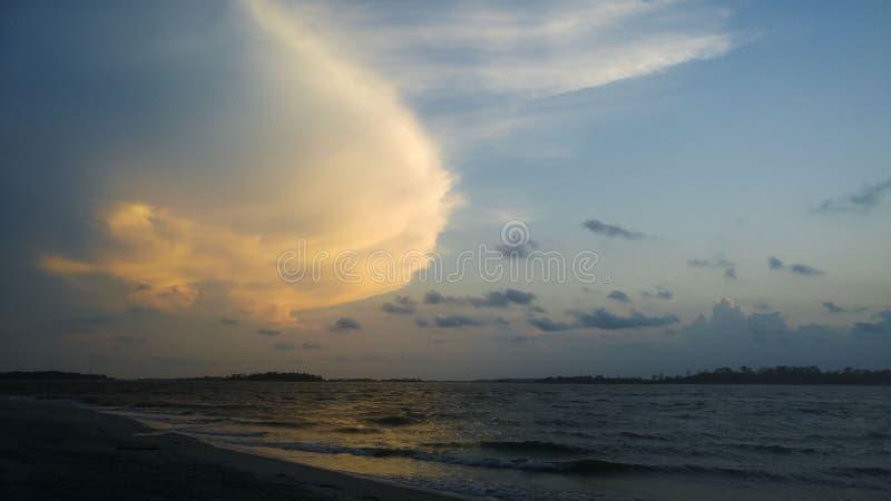 Пляж, взгляд ландшафта океана стоковые изображения rf