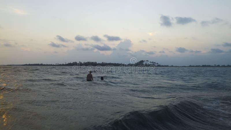 Пляж, взгляд ландшафта океана стоковые фотографии rf