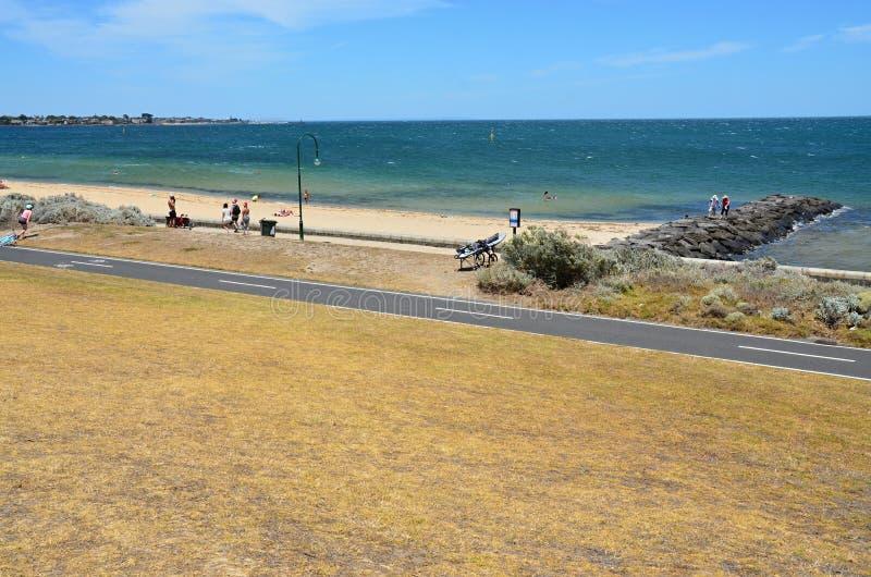 Пляж взморья с взглядом стоковые изображения rf