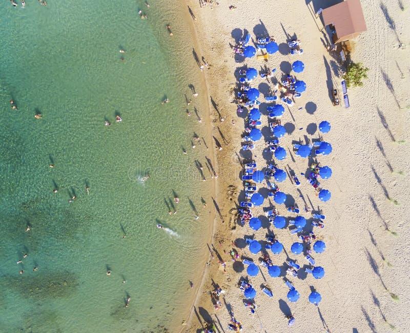 Пляж вида с воздуха, Protaras, Кипр стоковое изображение rf