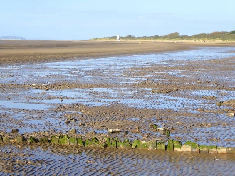 Пляж грязи во время отлива стоковое фото rf