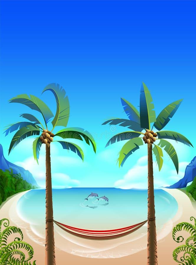 Пляж залива рая тропический с пальмой Гамак для ослаблять и дельфины в голубом море иллюстрация штока