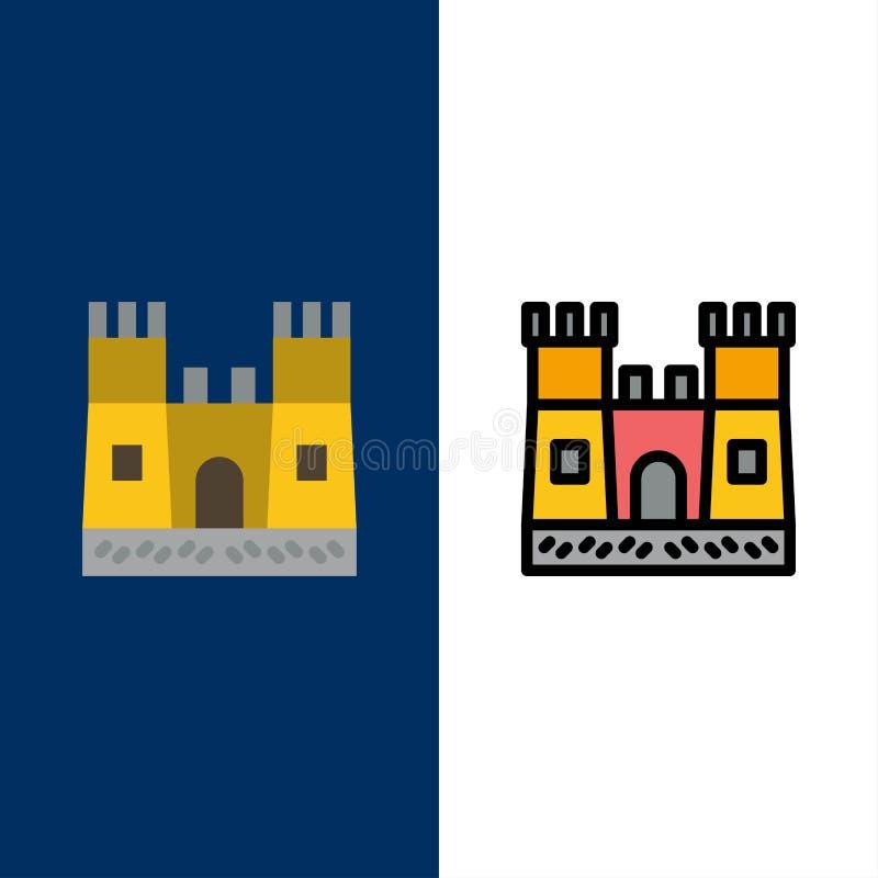Пляж, замок, значки замка песка Квартира и линия заполненный значок установили предпосылку вектора голубую иллюстрация вектора