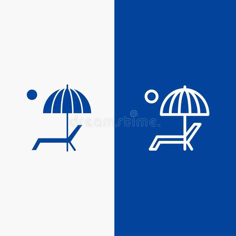 Пляж, зонтик, Суд, наслаждается, значка линии и глифа знамени твердого значка линии лета и глифа знамя голубого твердого голубое бесплатная иллюстрация