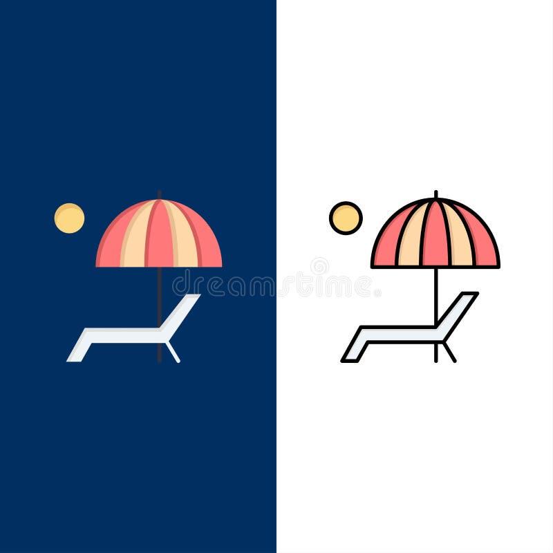 Пляж, зонтик, Суд, наслаждается, значки лета Квартира и линия заполненный значок установили предпосылку вектора голубую иллюстрация штока