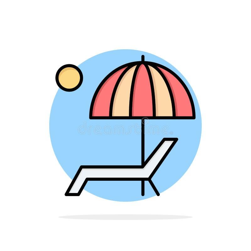 Пляж, зонтик, Суд, наслаждается, предпосылки круга лета значок цвета абстрактной плоский бесплатная иллюстрация