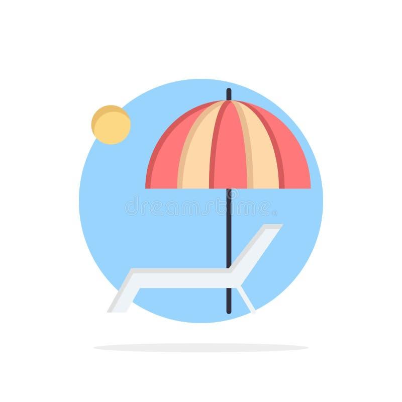 Пляж, зонтик, Суд, наслаждается, предпосылки круга лета значок цвета абстрактной плоский иллюстрация штока