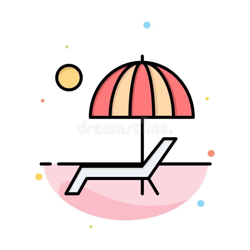Пляж, зонтик, Суд, наслаждается, шаблон значка цвета конспекта лета плоский иллюстрация штока