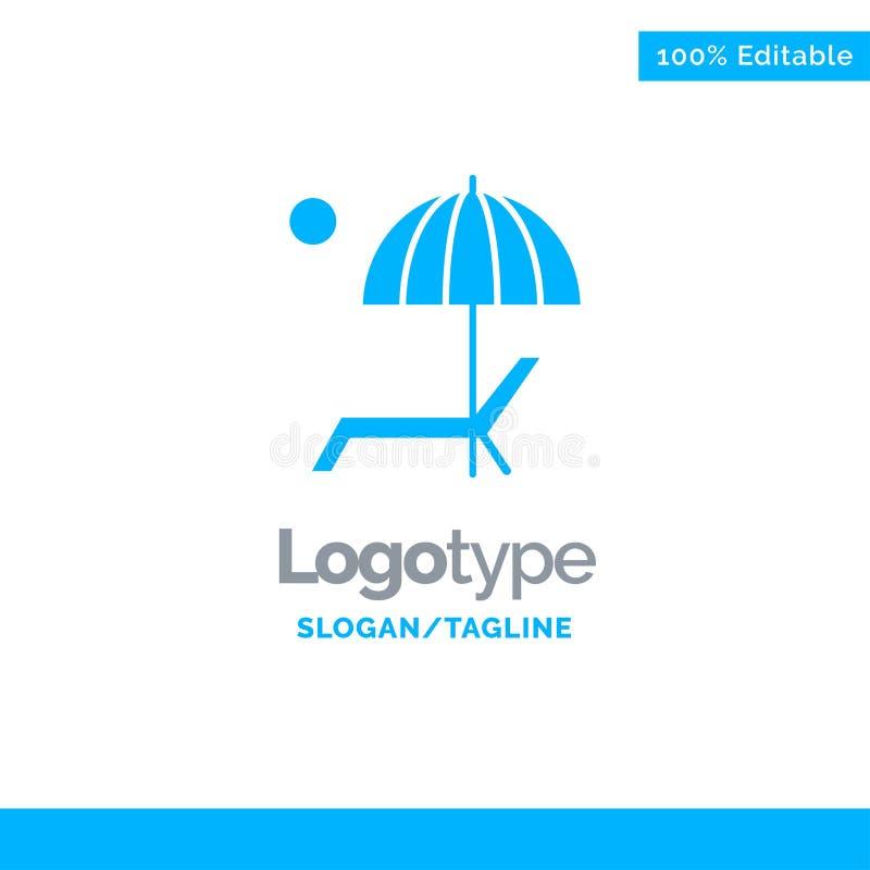 Пляж, зонтик, Суд, наслаждается, шаблон логотипа лета голубой твердый r бесплатная иллюстрация