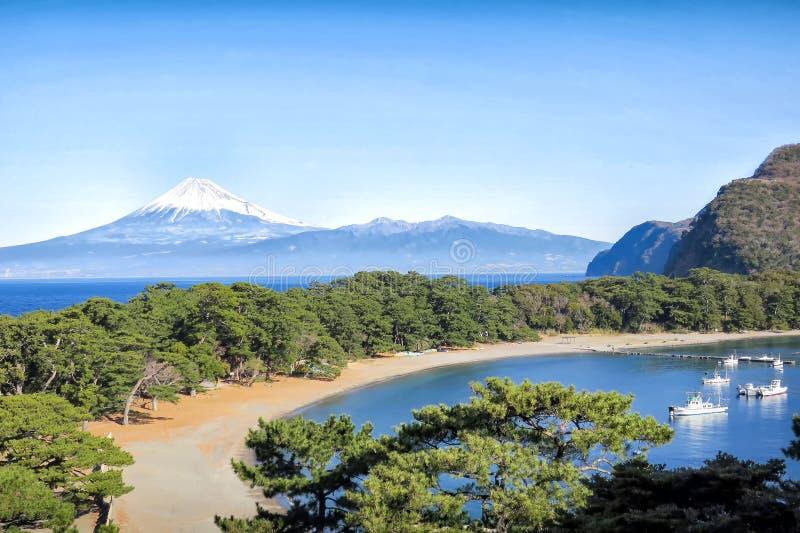Пляж и лагуна в Японии с Moutain Фудзи на заднем плане стоковое фото rf