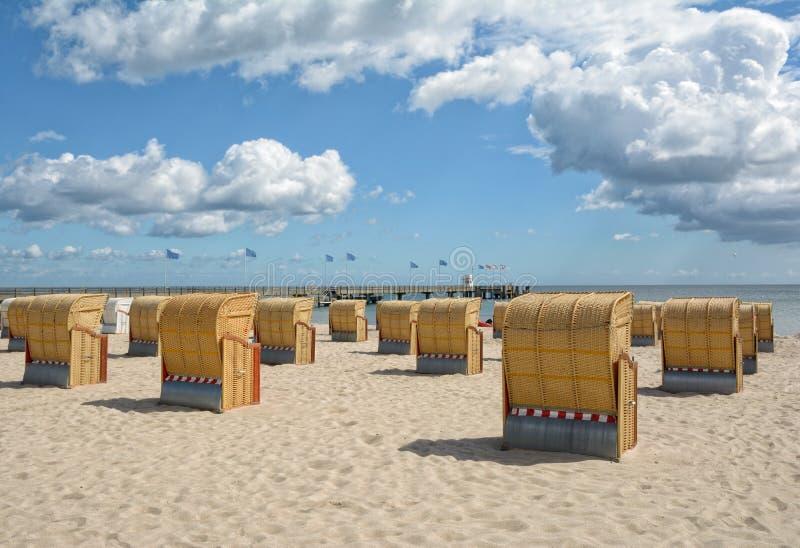 Пляж и этап посадки, Dahme, Балтийское море, Германия стоковое фото