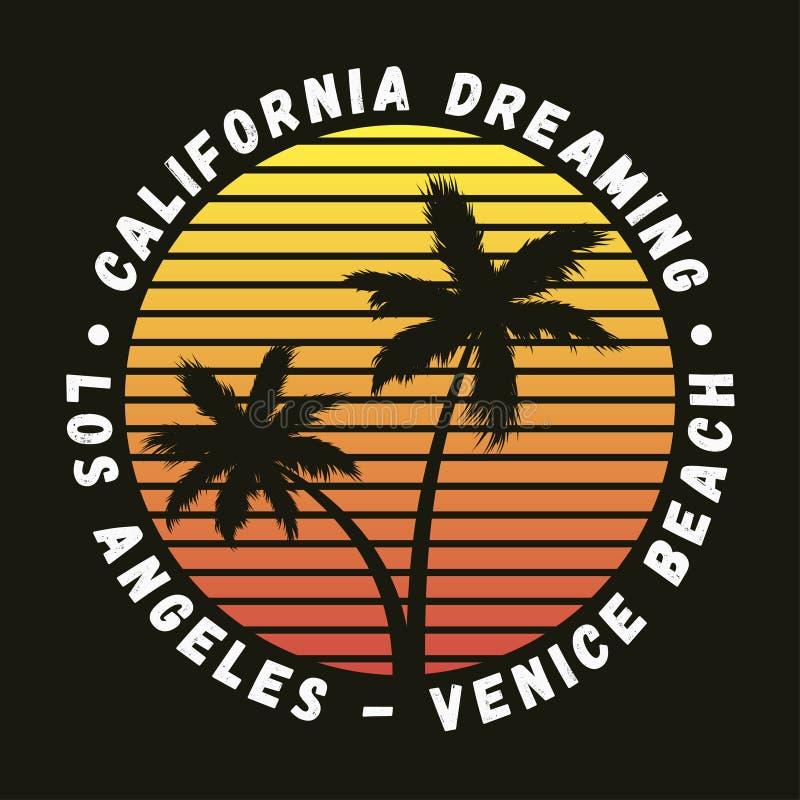 Пляж Калифорнии, Лос-Анджелеса, Венеции - оформление для дизайна одевает, футболка с пальмами Графики для одеяния вектор иллюстрация вектора