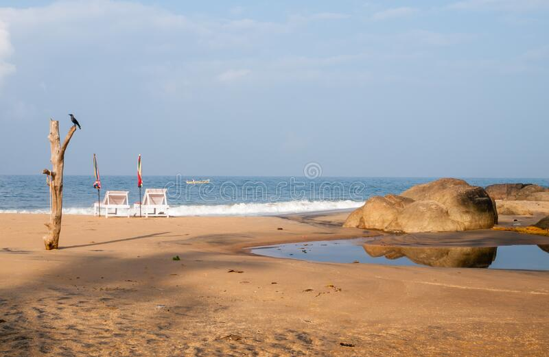 Пляж Ковалам утром стоковое фото rf