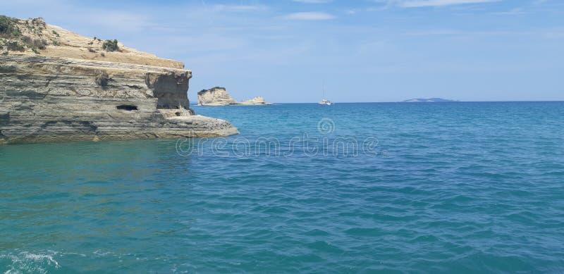 Пляж Корфу, Порту Timoni Afionas стоковые фотографии rf