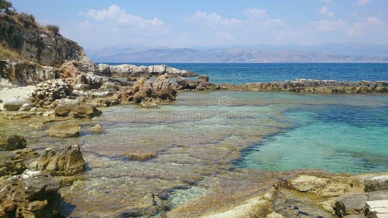Пляж Корфу стоковая фотография rf