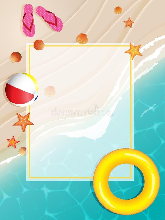 Пляж лета с рамкой бесплатная иллюстрация
