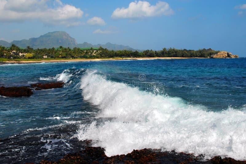пляж ломая волны кораблекрушением стоковые изображения rf
