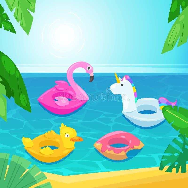 Пляж моря с красочными поплавками в воде, иллюстрации вектора Ягнит раздувные игрушки фламинго, утка, донут, единорог иллюстрация штока