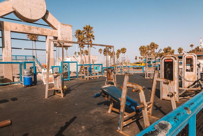 Пляж мышцы в Лос-Анджелесе стоковая фотография rf