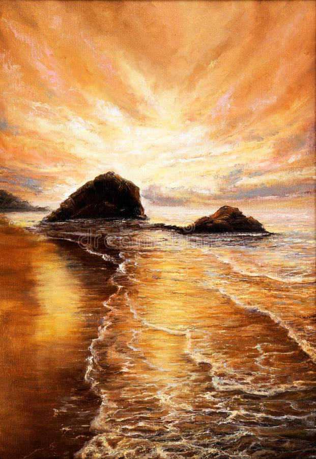 пляж над заходом солнца иллюстрация вектора
