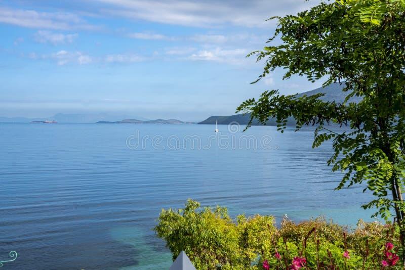 Пляж олимпии на острове Греции Kefalonia стоковые изображения rf