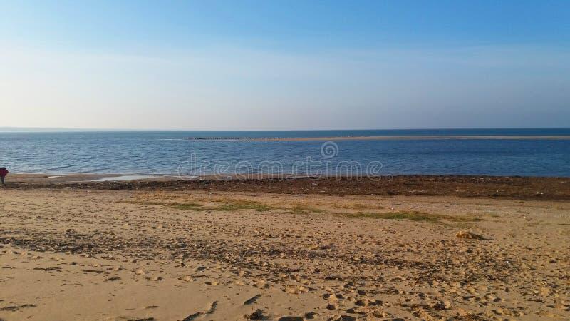 Пляж осени солнечный стоковые фотографии rf