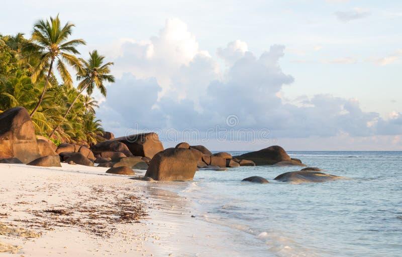 Пляж острова силуэта Сейшельских островов стоковая фотография rf