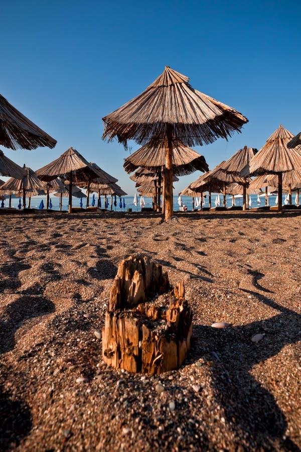 Пляж песка с зонтиком стоковое изображение rf