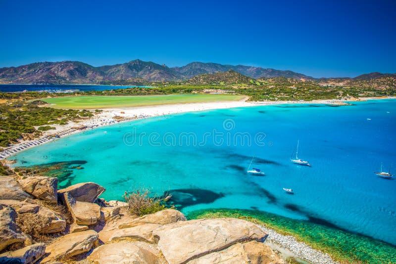 Пляж Порту Giunco, Villasimius, Сардиния, Италия стоковые фотографии rf