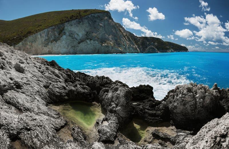 Пляж Порту Katsiki в острове лефкас, Греции стоковые фотографии rf