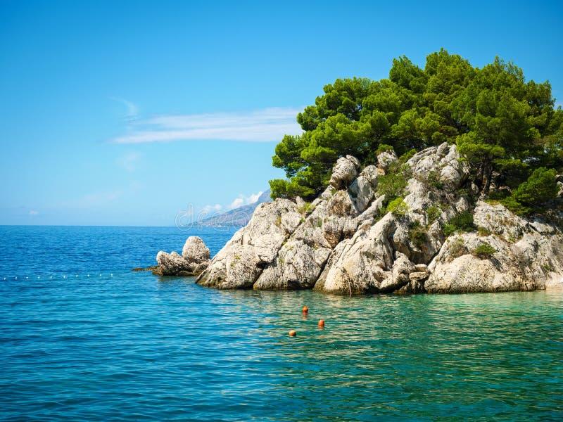 Пляж рая в Хорватии, Brela, Далмации стоковые фото