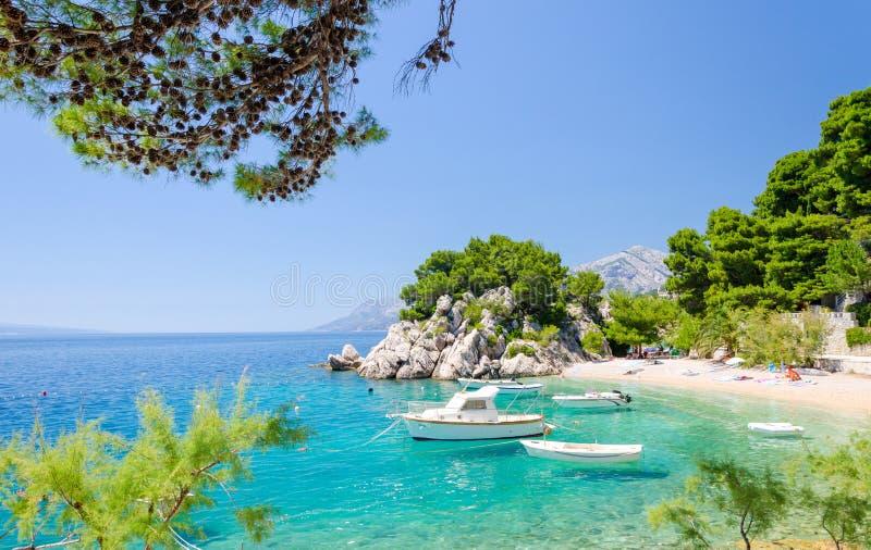Пляж рая в Brela на Makarska riviera, Далмации, Хорватии стоковые изображения