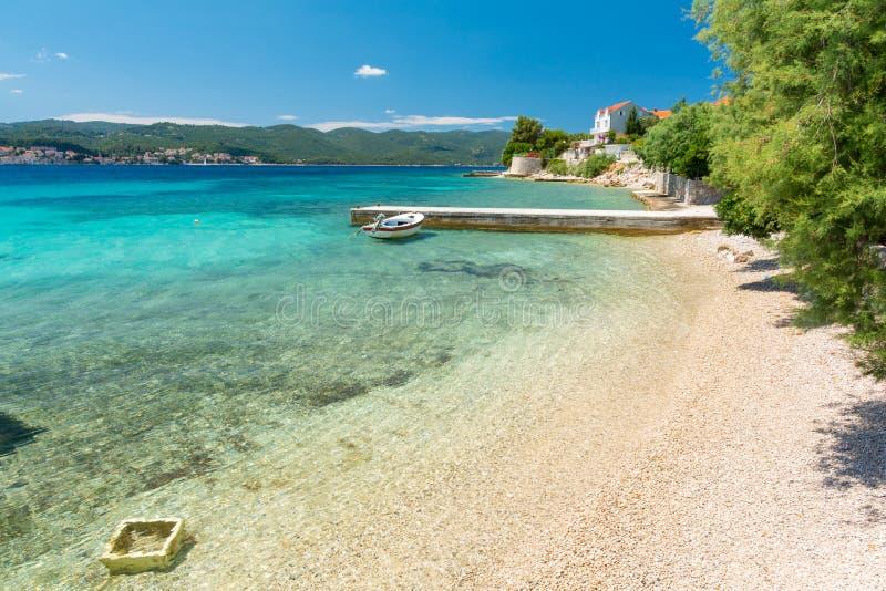 Пляж рая в Orebic в полуострове Peljesac, Далмации, Хорватии стоковая фотография