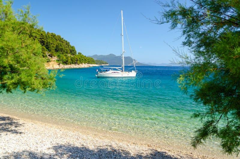 Пляж рая в Trstenik на полуострове Peljesac, Далмации, Хорватии стоковое изображение rf