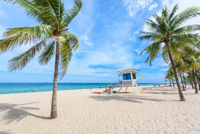 Пляж рая на Fort Lauderdale в Флориде на красивом sume стоковая фотография rf