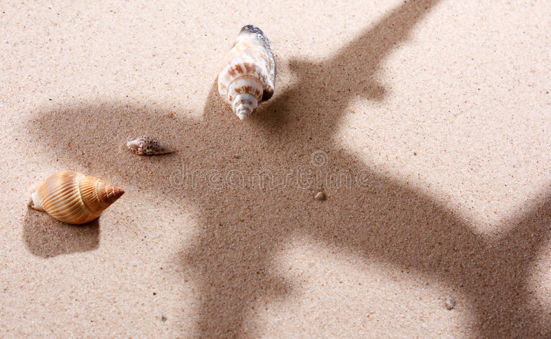 пляж самолета сверх стоковые изображения