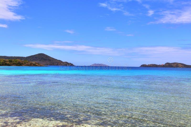 Пляж сапфира на острове St. Thomas стоковые фотографии rf