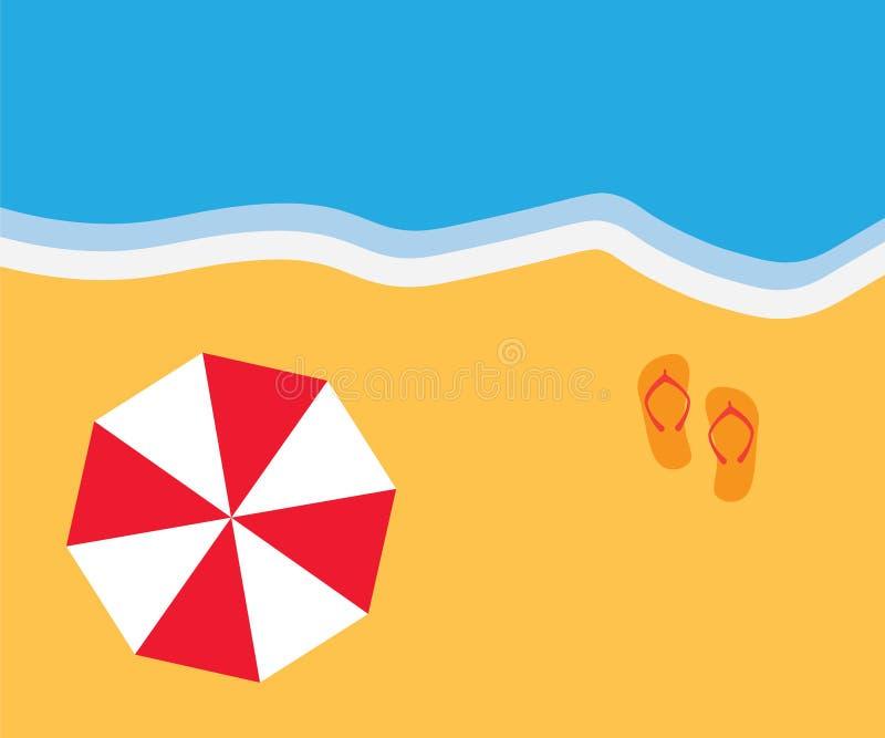 Пляж с зонтиком и взглядом сверху кувырков иллюстрация вектора