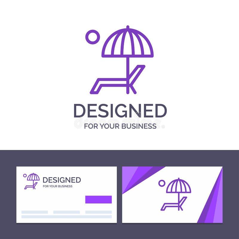 Пляж творческого шаблона визитной карточки и логотипа, зонтик, Суд, наслаждается, иллюстрация вектора лета иллюстрация вектора