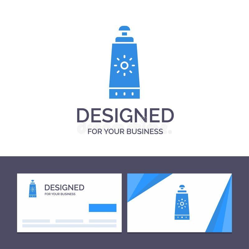 Пляж творческого шаблона визитной карточки и логотипа, Sunblock, иллюстрация вектора солнцезащитного крема иллюстрация штока