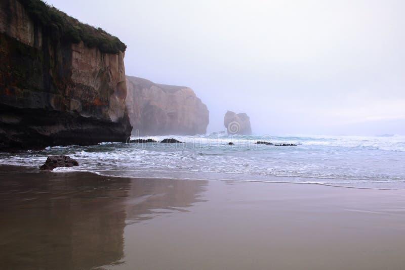 Пляж тоннеля около Данидина на тумане раннего утра, южном острове, Новой Зеландии стоковая фотография