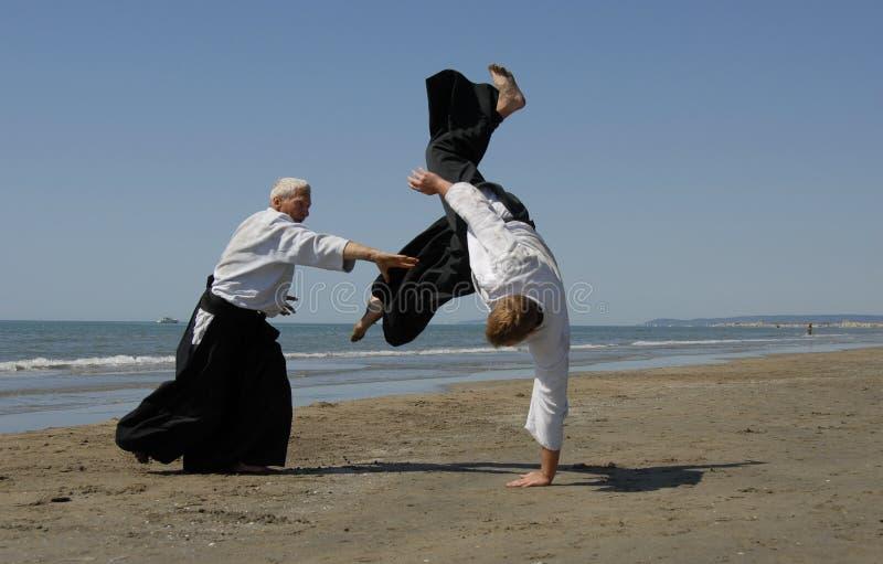 пляж aikido стоковое изображение rf