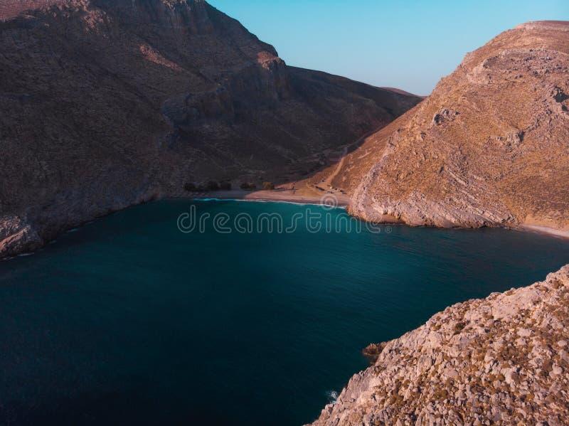 Пляж Astypalaia/Греция Vatses вида с воздуха стоковое изображение rf