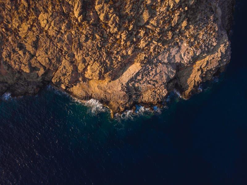 Пляж Astypalaia/Греция Vatses вида с воздуха стоковое фото