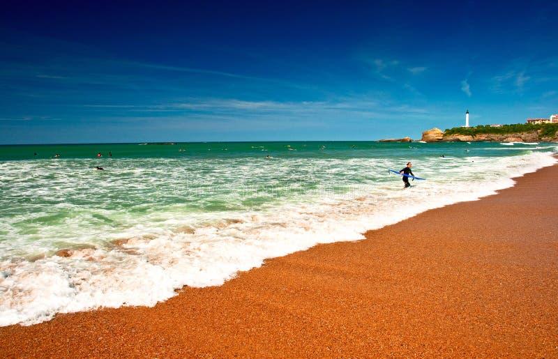 пляж biarritz Франция стоковое изображение rf