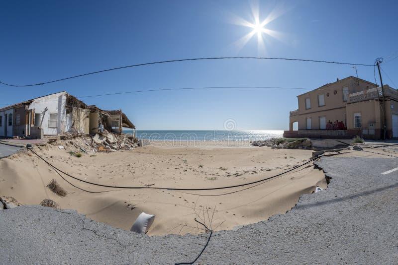 Пляж Del Segura Guardamar, Аликанте, 26-ое марта 2018 Испания стоковая фотография rf