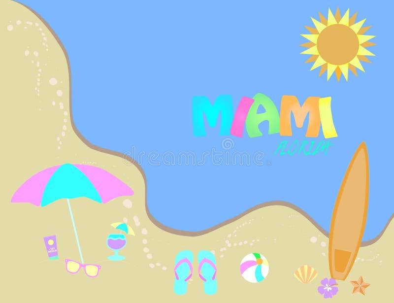 пляж florida miami Знамя лета, тропический дизайн пляжа иллюстрация вектора