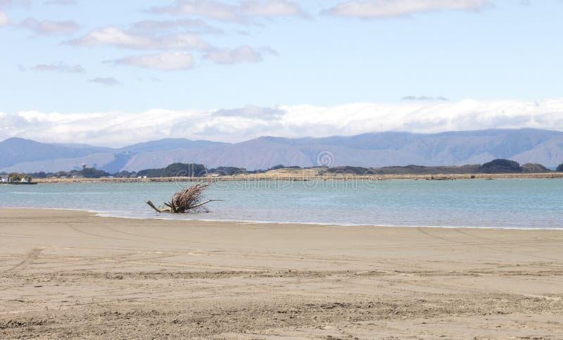 Пляж Foxton смотря вне через лиман реки Manawatu к Tararua выстраивает в ряд стоковая фотография rf