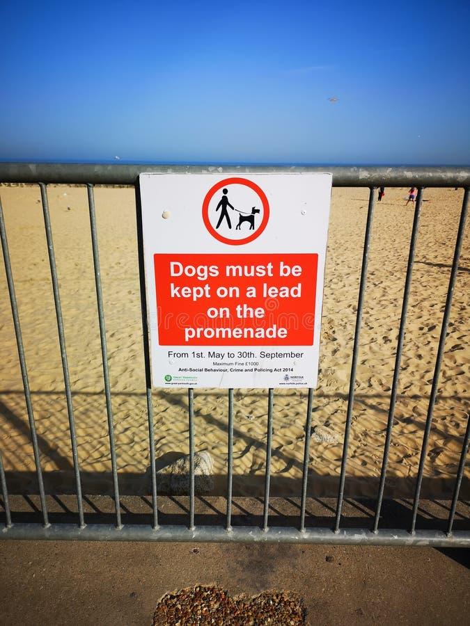 Пляж Gorleston предупредительного знака стоковые фотографии rf